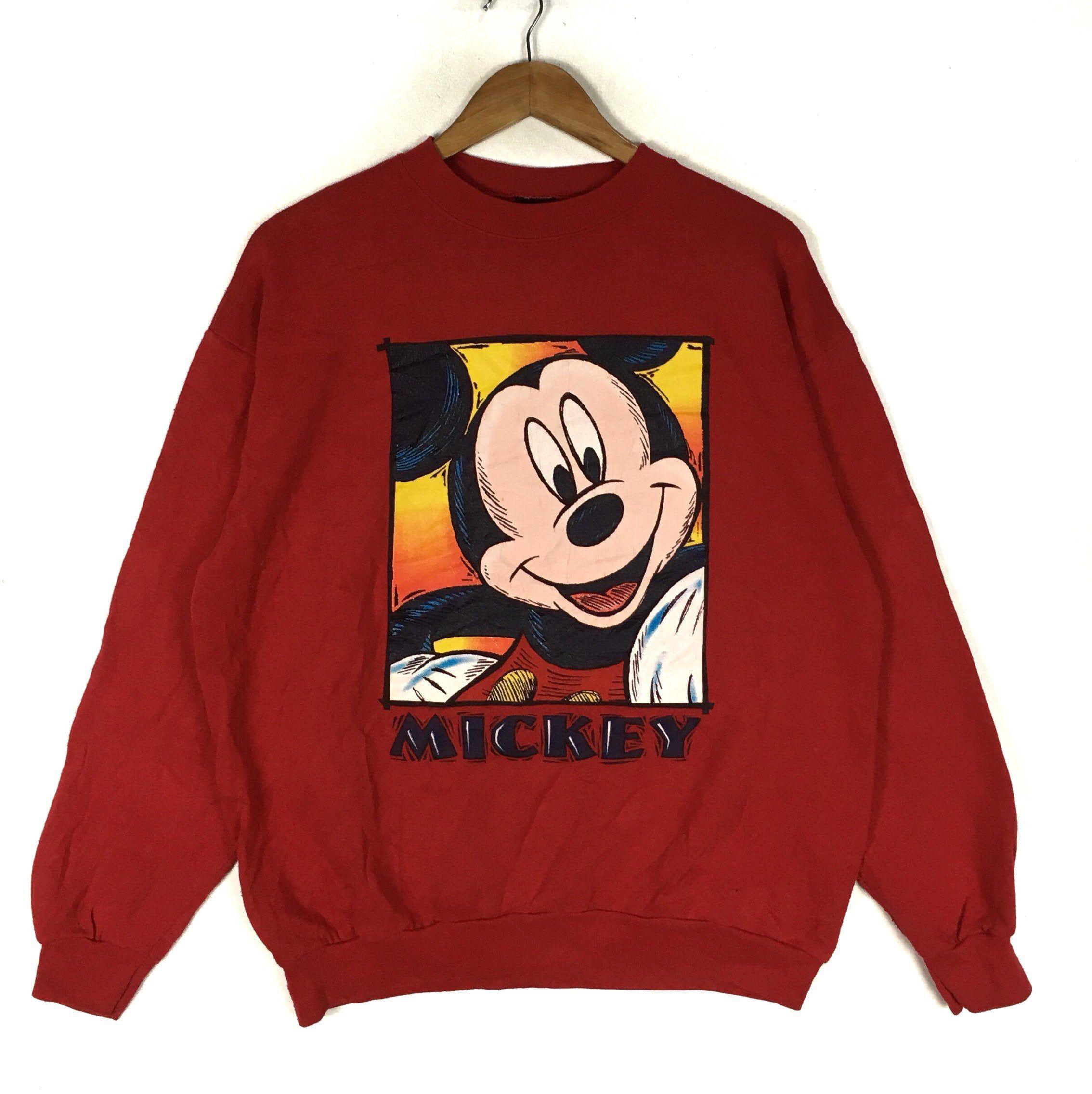 Vintage Mickey Mouse Crewneck Big Logo Sweatshirt Jumper Red Etsy Sweatshirts Vintage Mickey Mouse Vintage Mickey [ 2272 x 2268 Pixel ]