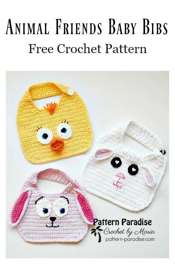 6 Cute Baby Bib Free Crochet Patterns in 2020 | Crochet ...