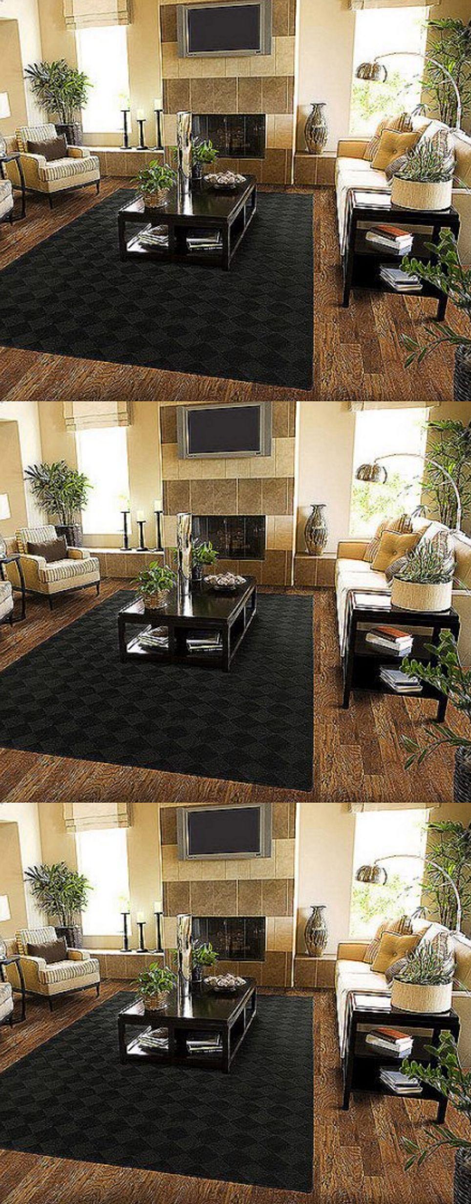 Area rugs solid black area rug carpet x sz rugs floor
