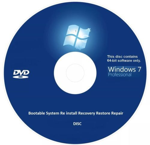 windows 7 professional 64 bit bootable re install recovery restore dis stuff to. Black Bedroom Furniture Sets. Home Design Ideas