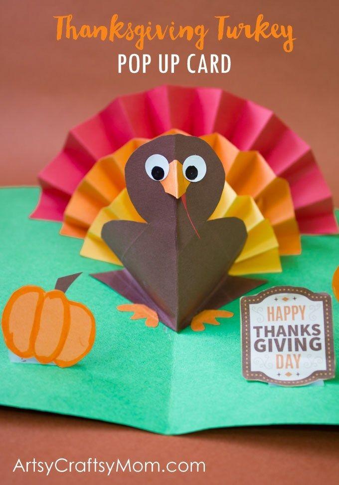 DIY Thanksgiving Turkey Pop Up Card - Artsy Craftsy Mom