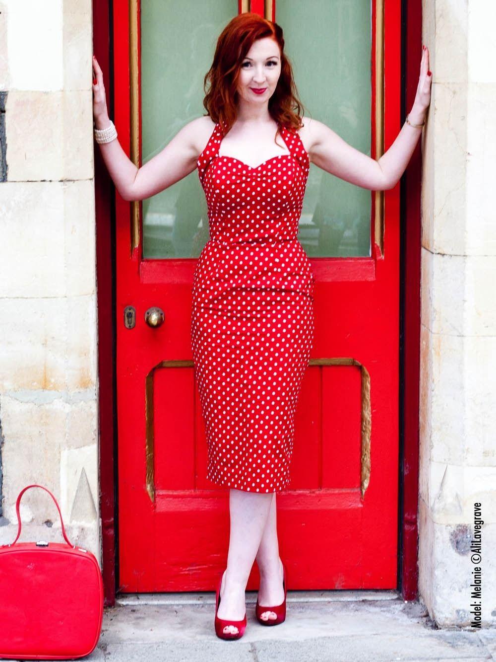 c830b7b9ea872 1950s Halterneck Pencil Red White Spot Dress from Vivien of Holloway ...