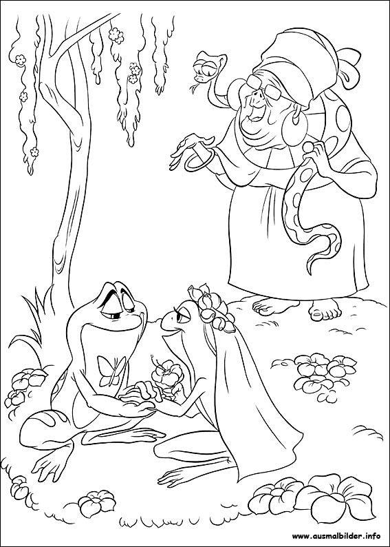 Küss den Frosch malvorlagen Frog coloring pages