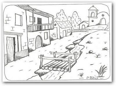 Dibujo para colorear paisaje con puente  Paisajes  Pinterest