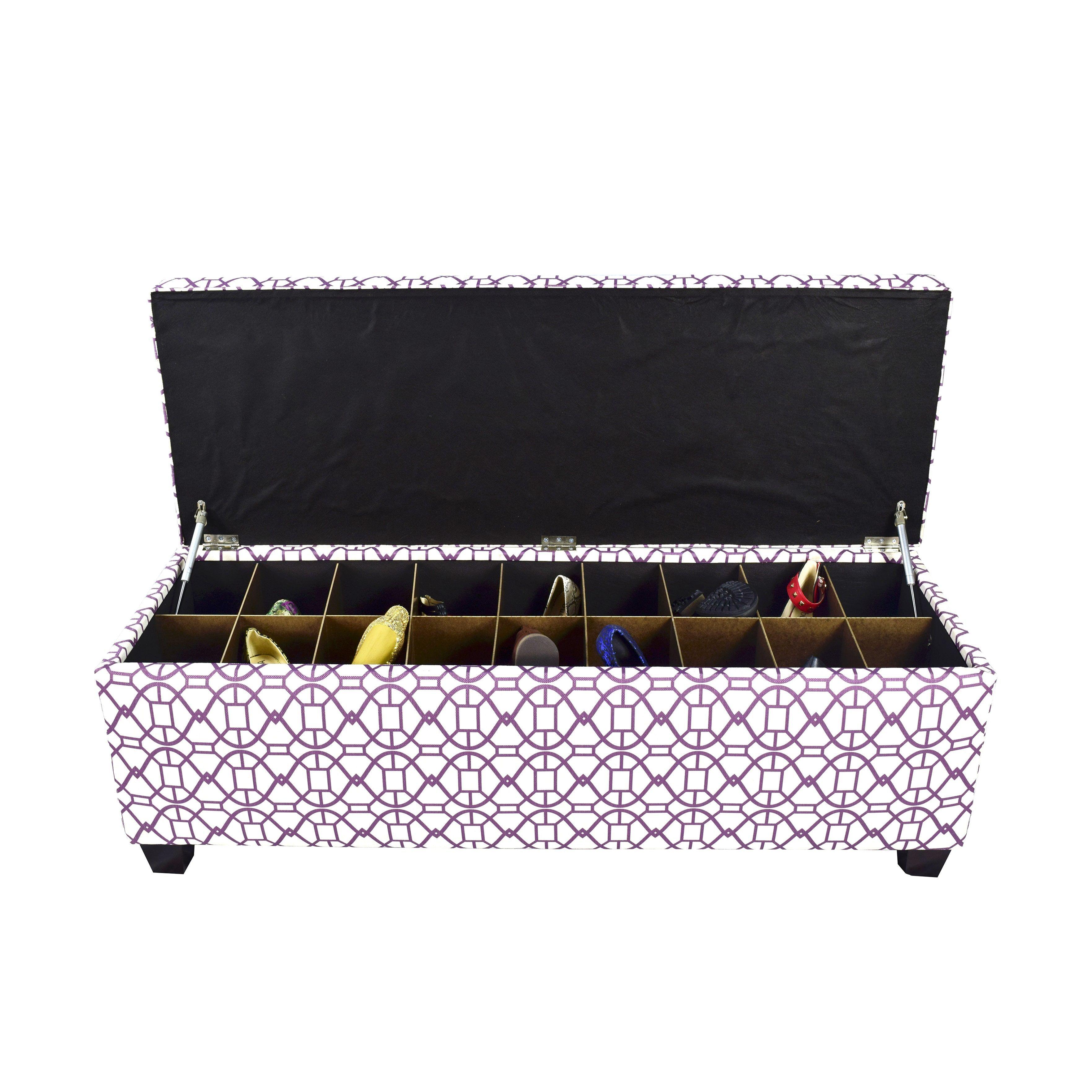 The Sole Secret Noah Vinvi Button Tufted Shoe Storage Bench (Large ...