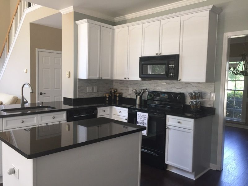 Kitchen sherwin williams comfort gray sw 6205 walls for Gloss white kitchen wall cabinets