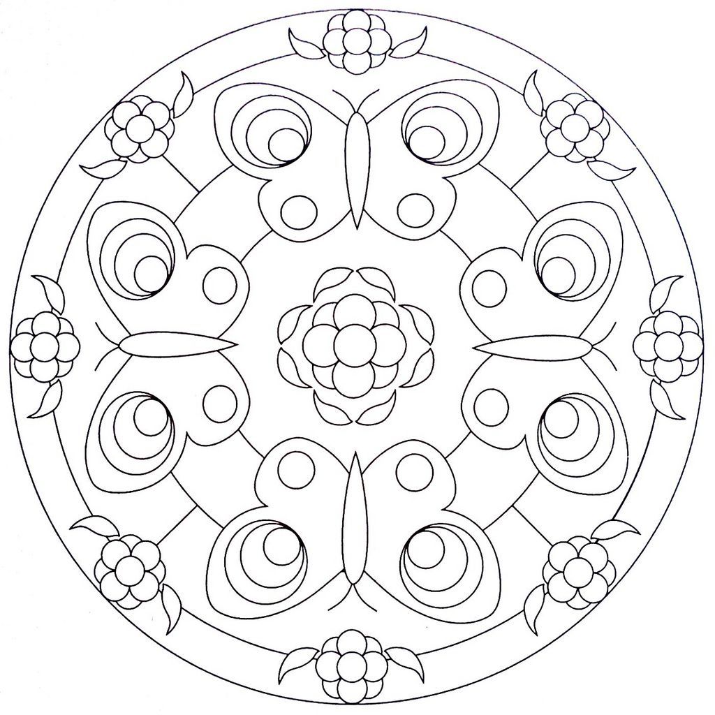 Mandala Coloring Page - Butterflies | Mandala coloring, Mandala and ...