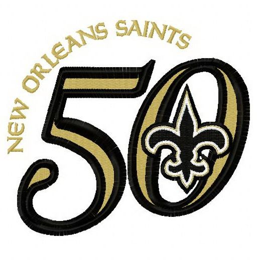 finest selection f14a0 8e8d4 New Orleans Saints 50th anniversary 2 embroidery design ...