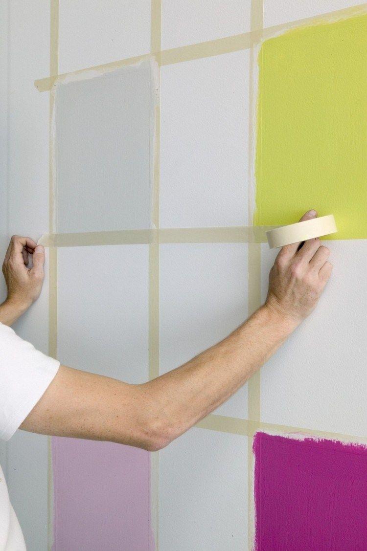 schachbrettmuster an der wand mit farbe erstellen | wand in 2018