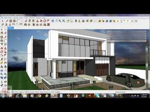 Google Sketchup Tutorial 15 Daytime Vray Exterior Setting Youtube Exterior Rendering 3d Architectural Rendering Exterior Design Backyard