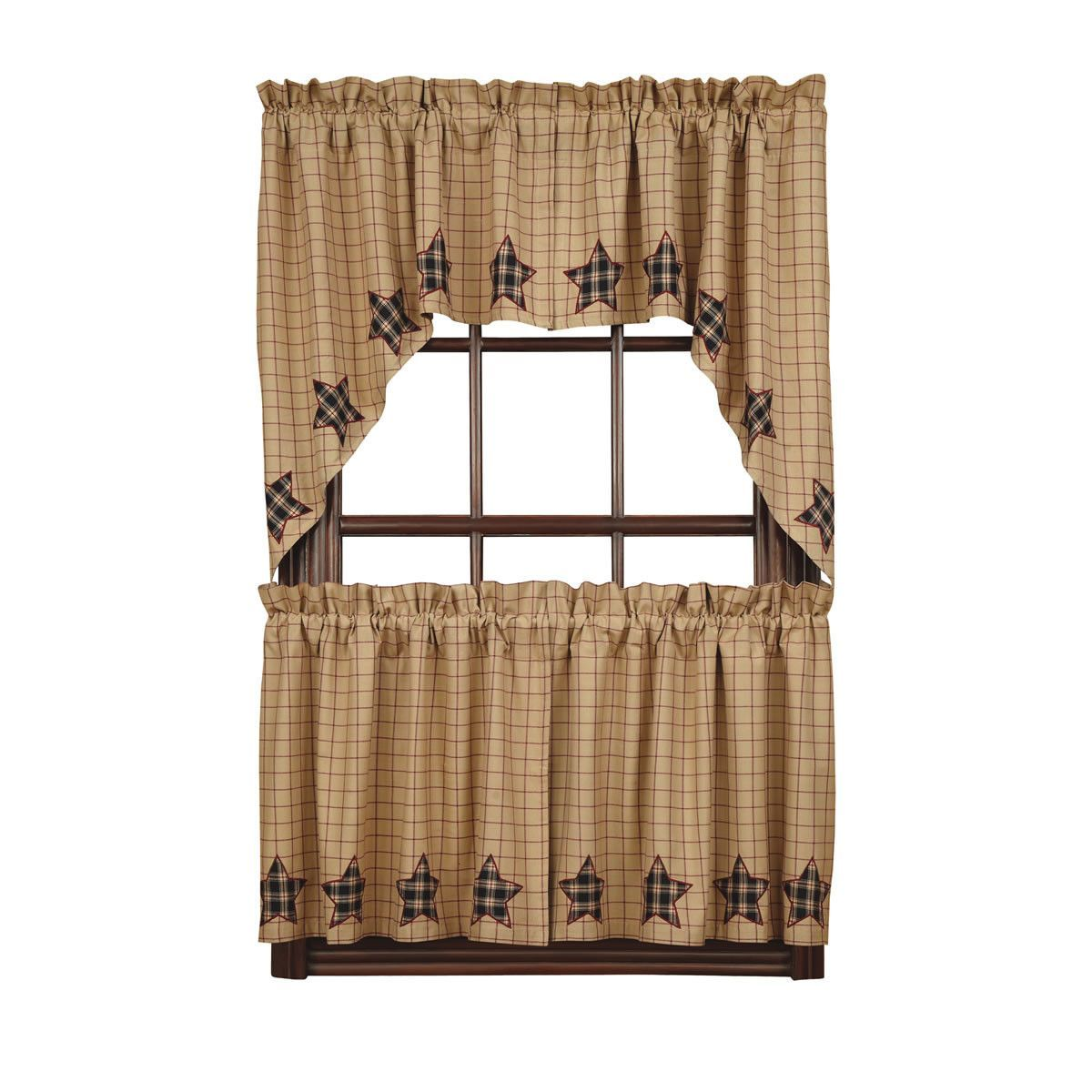 "Bingham Star Applique 36"" Tier Curtain"