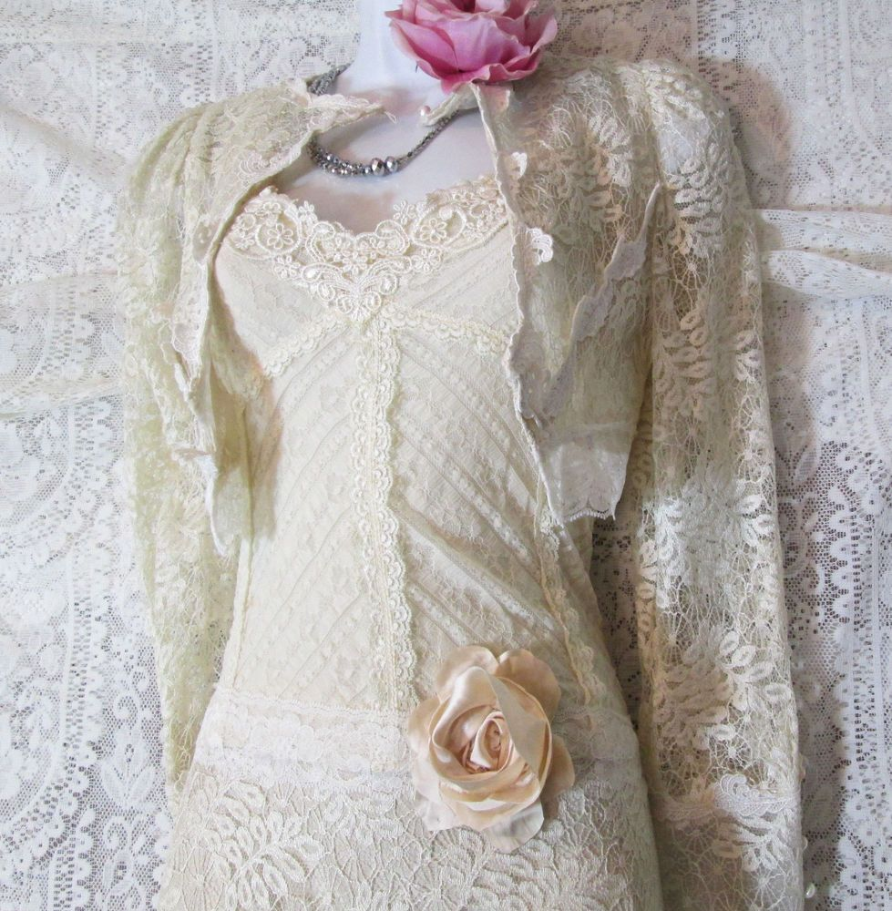 Handmade cream wedding shrug jacket lace bolero vintage tulle cream bride small