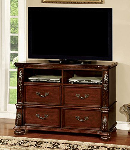 Furniture Of America Caldara Traditional Media Chest Brown Cherry