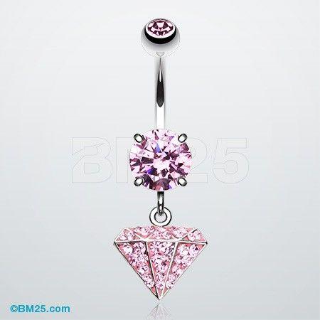 Urban Diamond Multi-Gem Sparkle Dangle Belly Button Ring ...