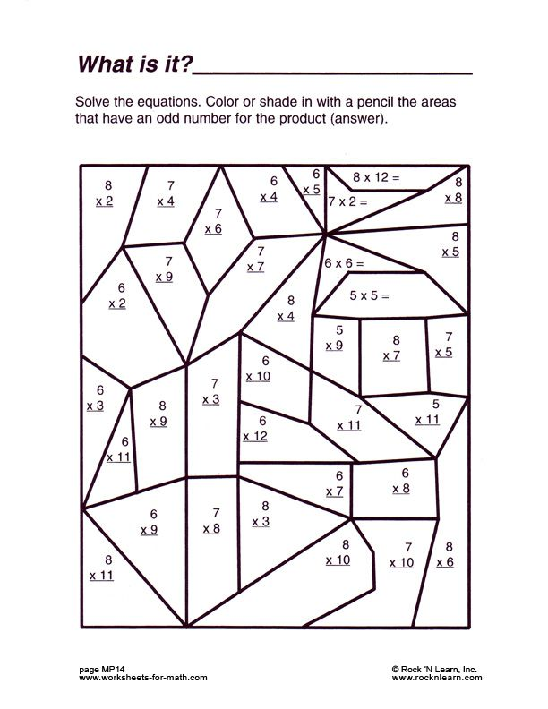Math Mystery Pictures Solve the basic math problems and color to – Free Printable Math Worksheets for Highschool Students
