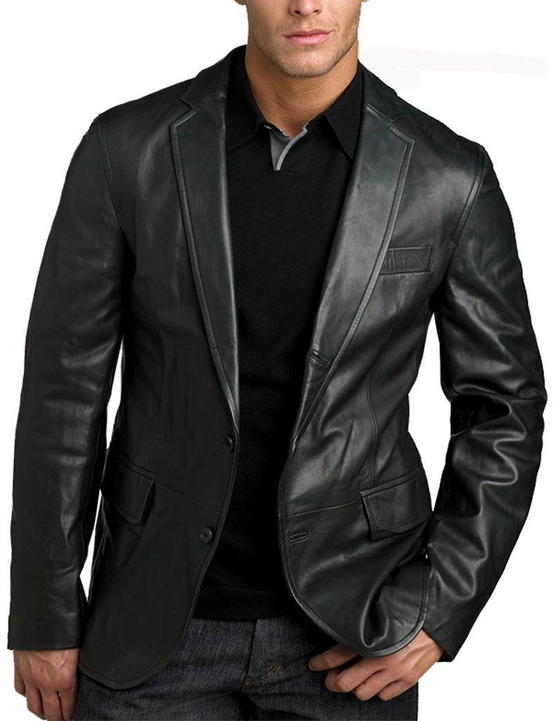44a375c06103 Classic Black Mens Leather Blazer