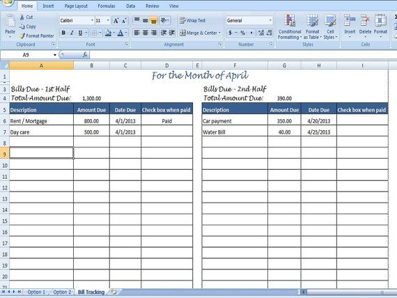 Monthly Bill Organizer Bill Tracker by TimeSavingTemplates, $3.50 More