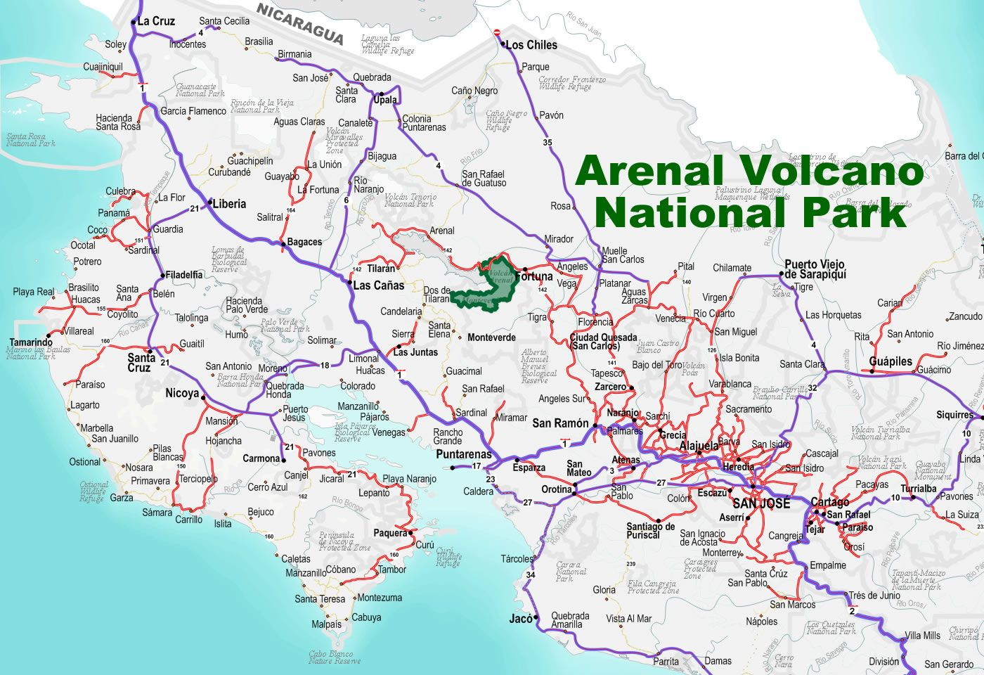 arenal costa rica map A Road To Arenal Volcano National Park In Costa Rica Free arenal costa rica map