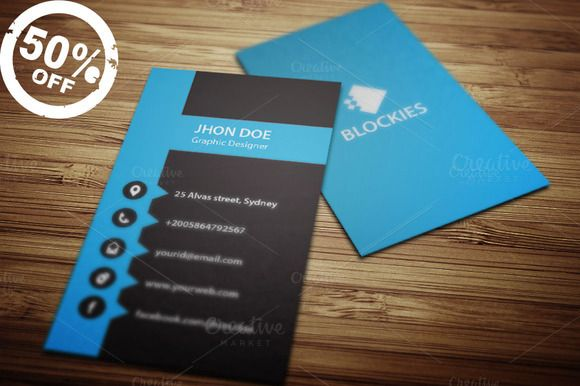 Vertical Business Card Template V.1 | Vertical business cards and ...