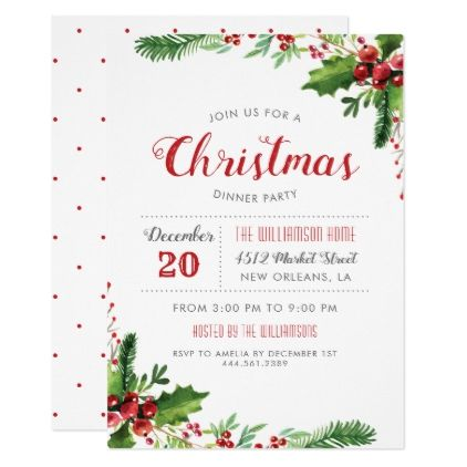 Watercolor Holly Branches Christmas Dinner Party Card