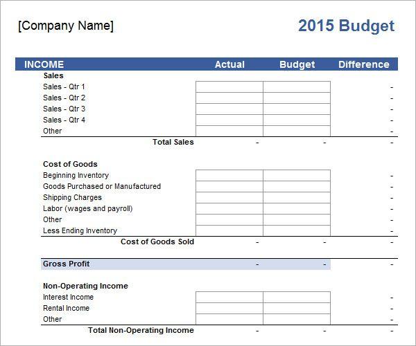 Business Budget Template template Pinterest Budget template