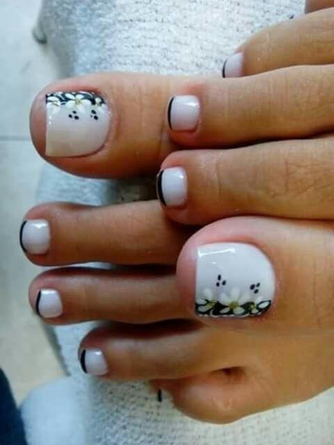 Francés Con Flores Pies Hermosos Pinterest Toe Nail Art Nails