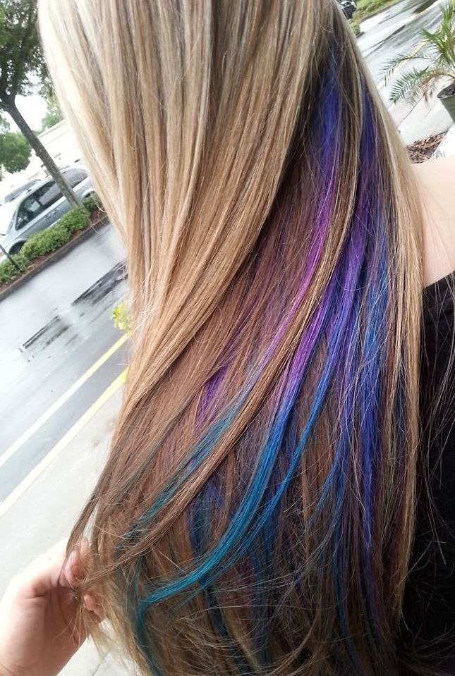 My Purple Blue And Teal Peekaboos Blonde My Hair Pinterest