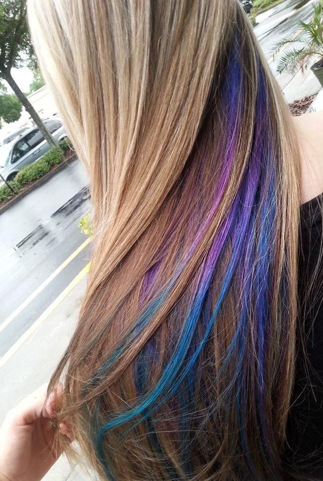 My Purple Blue And Teal Peekaboos Peekaboo Hair Hair Styles Hair Color Pastel