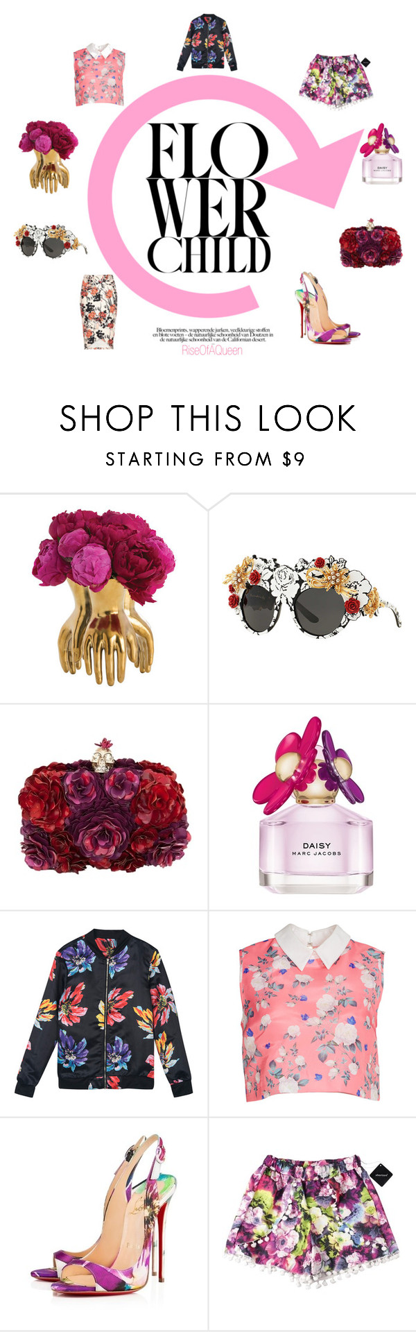 """Spring 2016 Floral"" by fashionphenomen on Polyvore featuring Arteriors, Dolce&Gabbana, Alexander McQueen, Marc Jacobs, ERIN Erin Fetherston and Christian Louboutin"