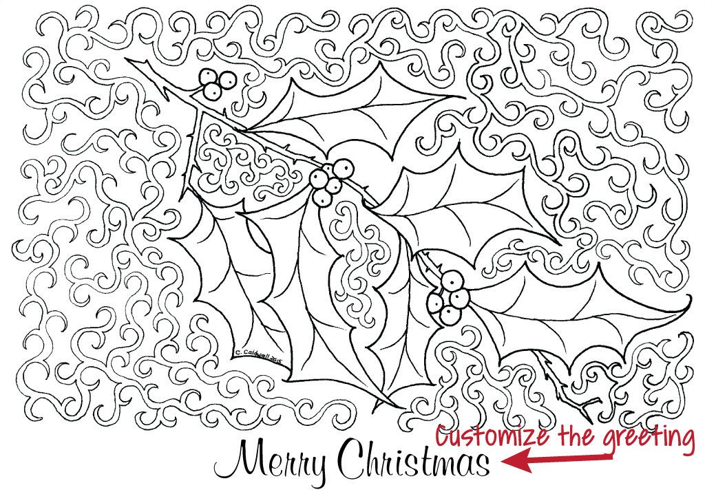 Customizable Christmas Holly Holiday Greeting Card To Color Etsy In 2021 Personalized Holiday Card Holiday Greeting Cards Holiday Greetings