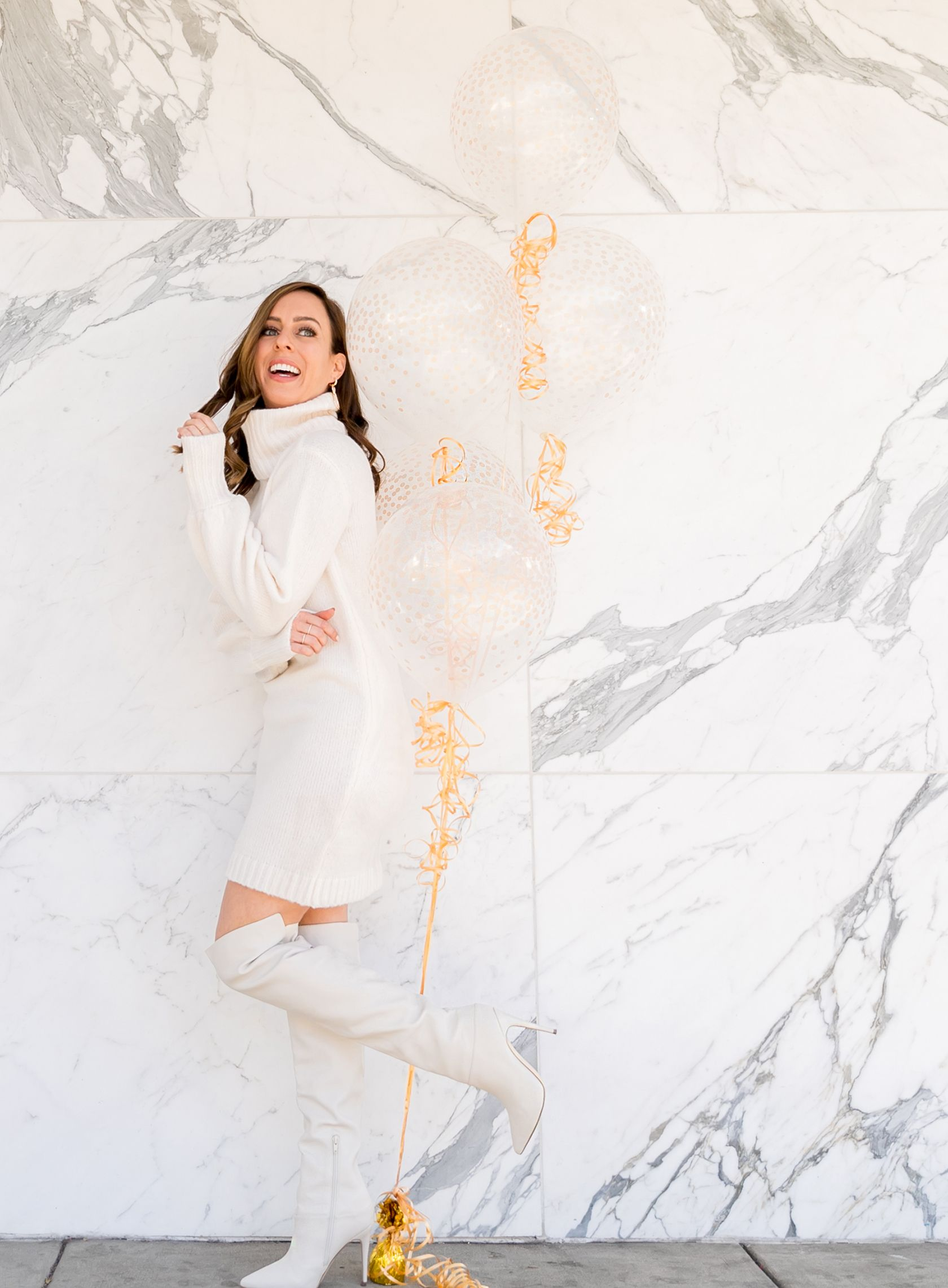 cef5cca18e4a Sydne Style shows winter white outfit ideas in over the knee boots # winterwhite #otkboots #boots #white #marble #balloons @sydnesummer