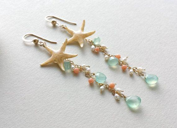 Starfish Dangle Earrings Real Starfish Peach by BellaAnelaJewelry