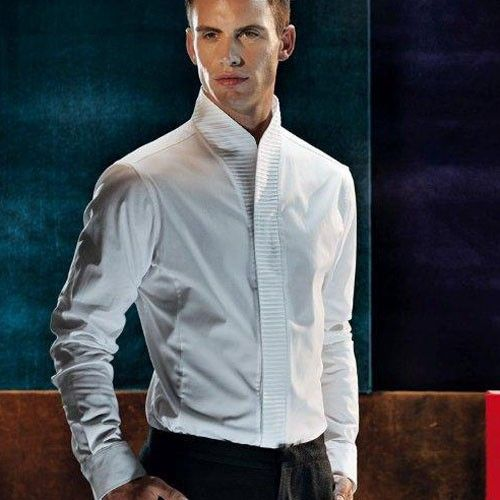 High collar pintuck shirt men winter 2013 pinterest for Mens high collar dress shirts