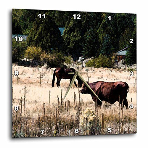 3dRose dpp_49531_1 Black Horse and Brown Cow Out in Pasture Together in Fresco Finish Wall Clock 10 x 10 >>> Read more reviews of the product by visiting the link on the image.
