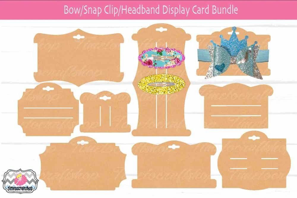 Hair Bow Snap Clip Headband Display Card Bundle Bow Card Template Cricut Bow Card Headband Display Display Cards Card Template