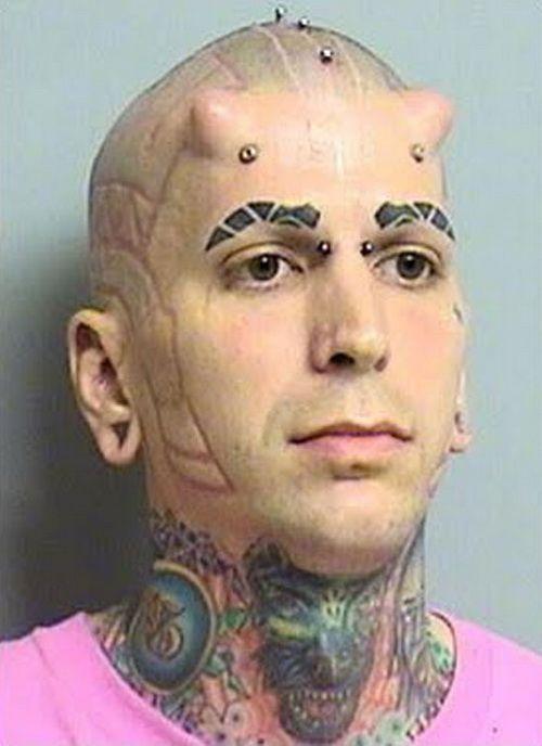 Real Devil Horns Extream Eyebrows Tattoos Muy Buen Dios