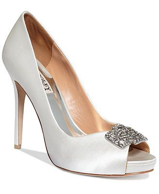 4f35a1f45d6 The navy satin are beautiful! The brooch gives them such an old southern  feel. Badgley Mischka Tory Platform Pumps