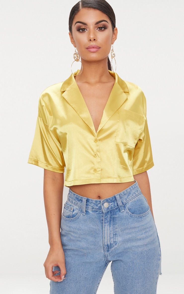 e1aba3192793c5 Chartreuse Satin Short Sleeve Crop Shirt | Plt | Satin shirt, Satin ...