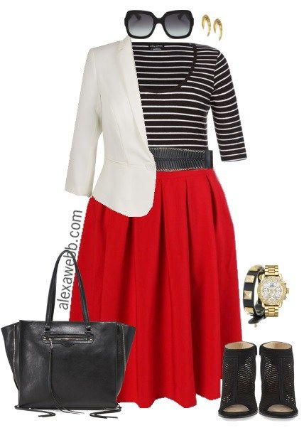 Plus Size Red Skirt Outfits | Outfit work, For women and The white