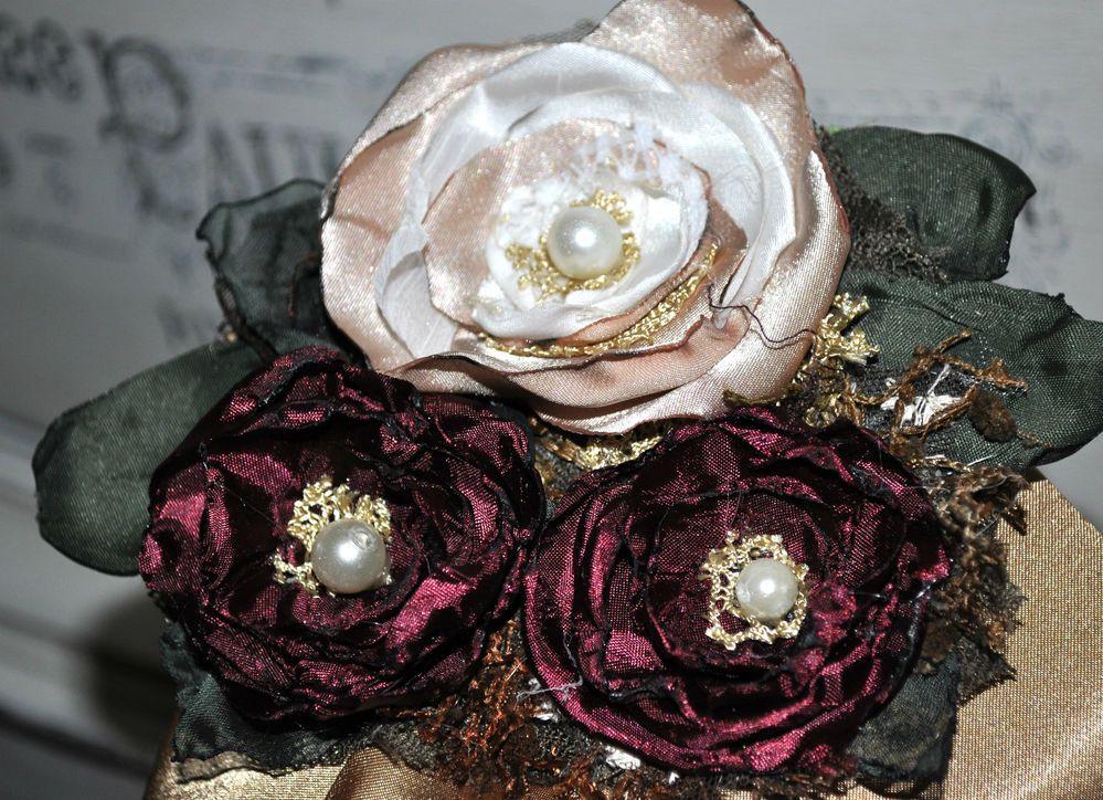 corsage white cream wine burgundy vintage brooch dress sash pin bridesmaid vtg