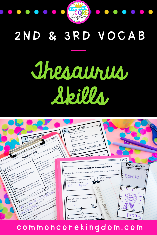 Thesaurus Skills   Student dictionary template [ 1500 x 1000 Pixel ]