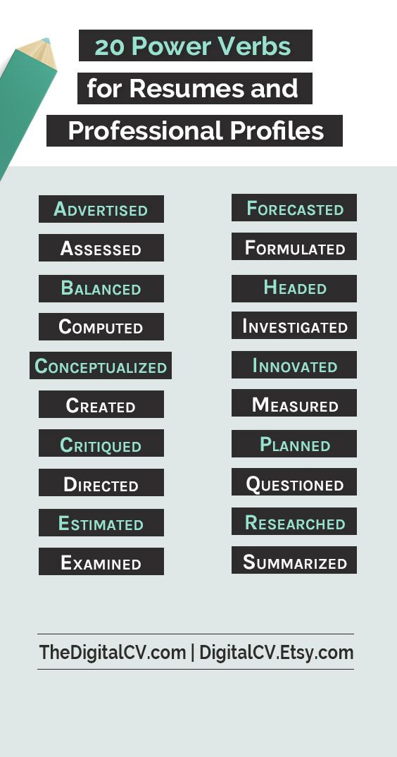 20 Power Verbs for Resumes and Professional Profiles \u003e action verbs