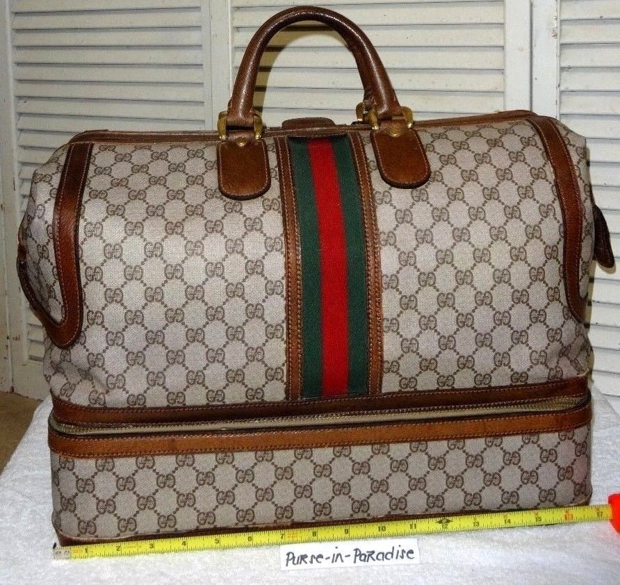 037959ca5c4 Auth. Vintage Gucci Travel Carry on Luggage Bag 70s Rare Antique ...