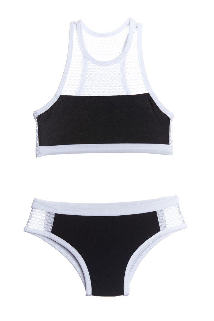 175d64ee05 Black and White Mesh Racer Swimsuit Kids Two Piece Bikini ...