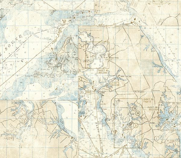 Ivory nautical map wallpaper by wallquest beach house pinterest ivory nautical map wallpaper by wallquest gumiabroncs Image collections