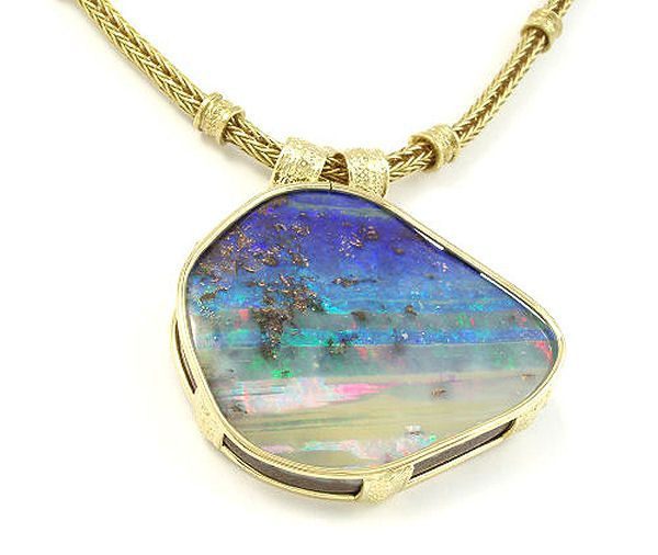 Original white gold yellow gold platinum jewellery commission boulder opal pendant necklace in yellow gold aloadofball Image collections
