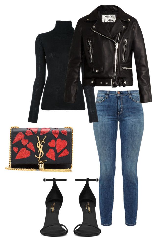 """Black Winter"" by stellavelvet ❤ liked on Polyvore featuring Current/Elliott, Tomas Maier, Yves Saint Laurent and Acne Studios"
