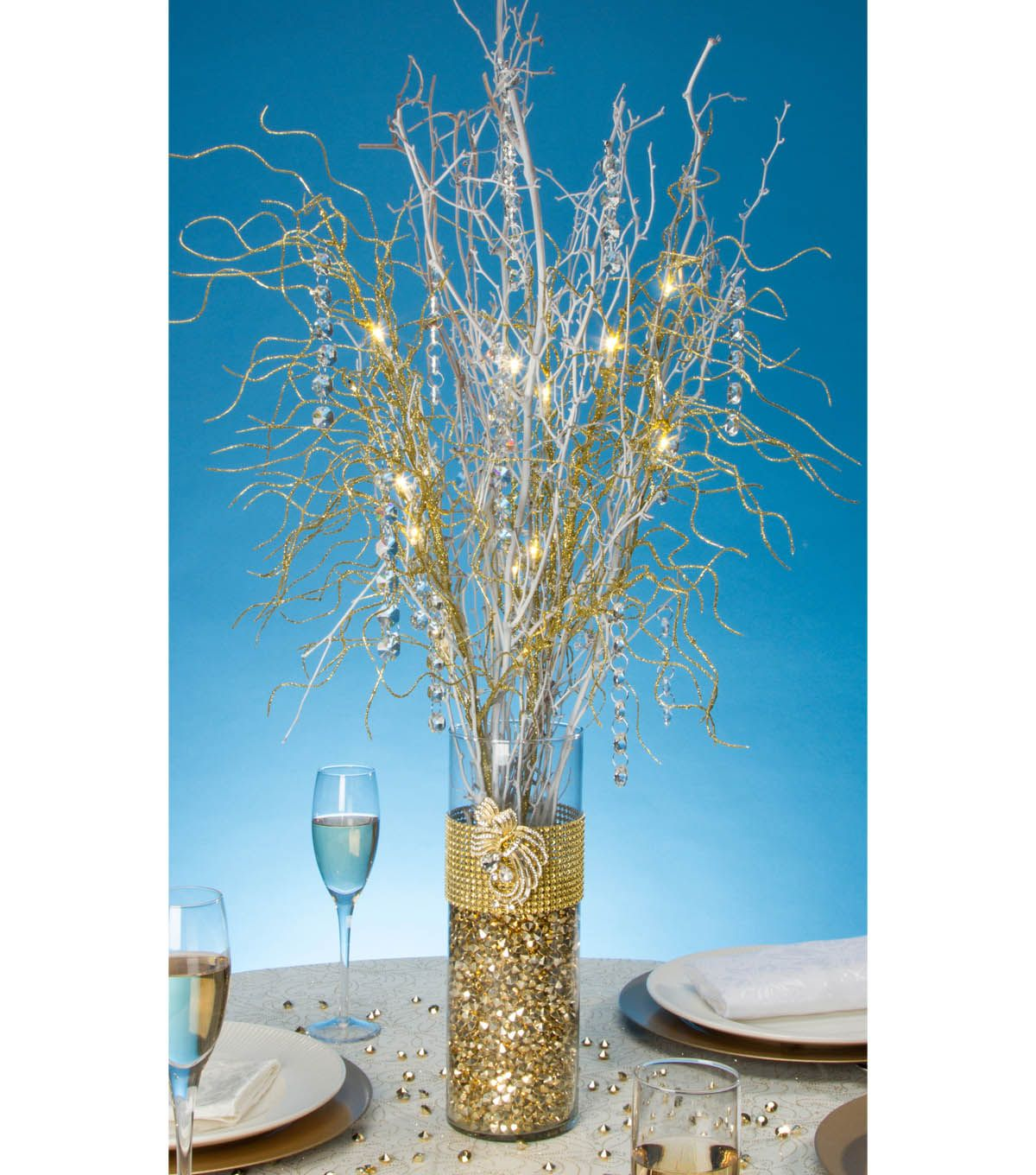 Gold Bling Wrapped Vase With Lit BranchesGold Bling Wrapped Vase With Lit  Branches. Table CenterpiecesCenterpiece ...