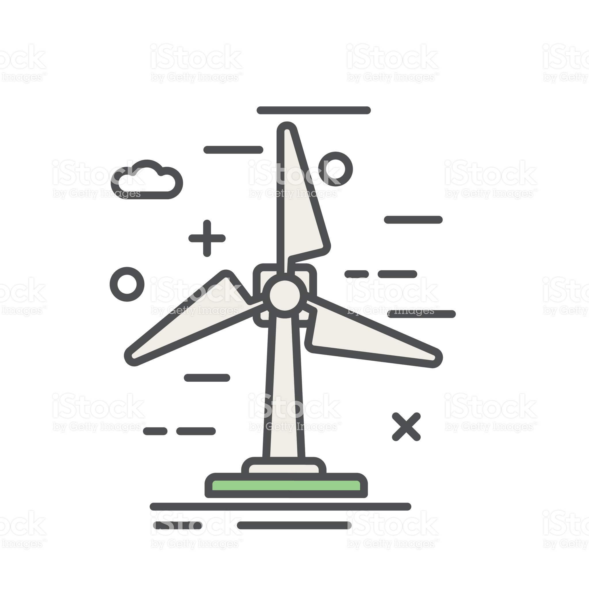 Wind Turbine Environment Icon In Thin Line Flat Design Style Line Icon Thin Line Energy