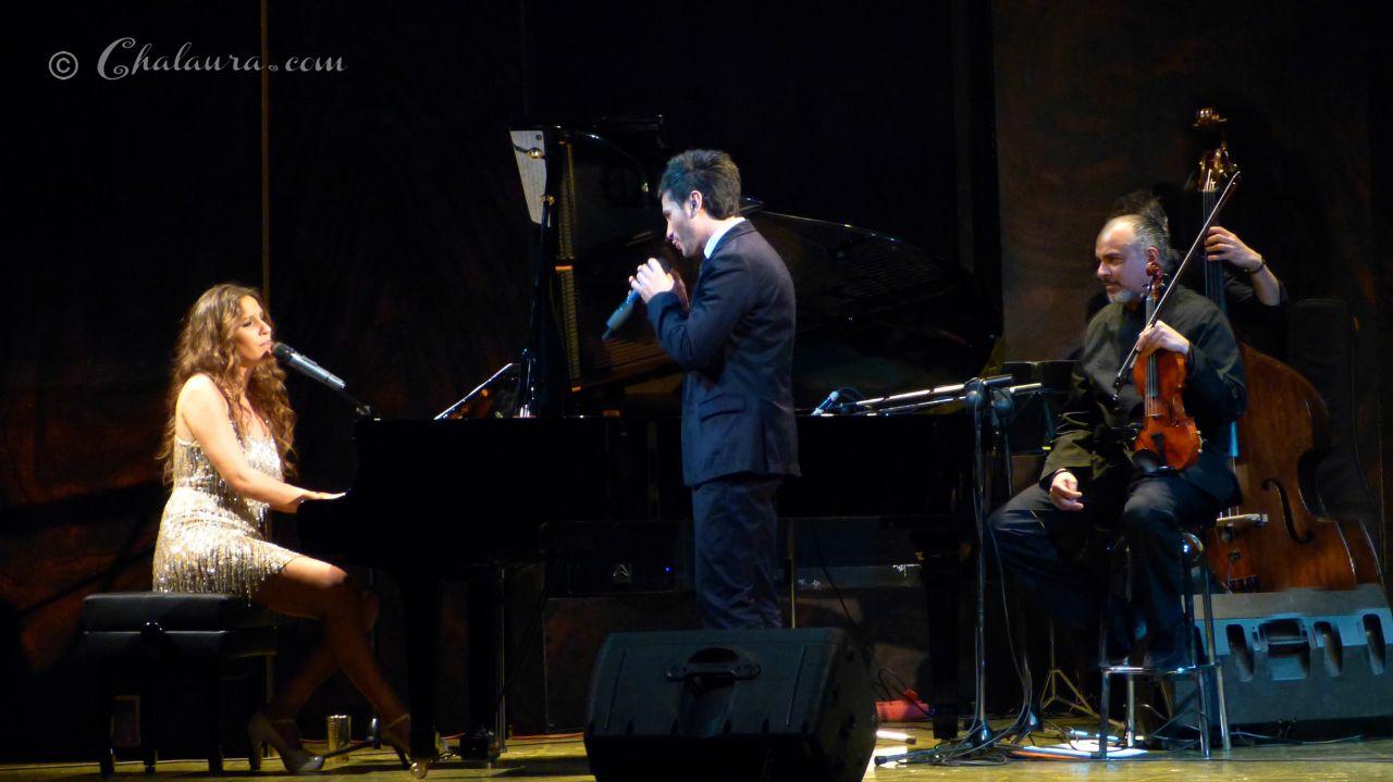 David de María colaborando con Maria Toledo al piano y David Moreira al violín